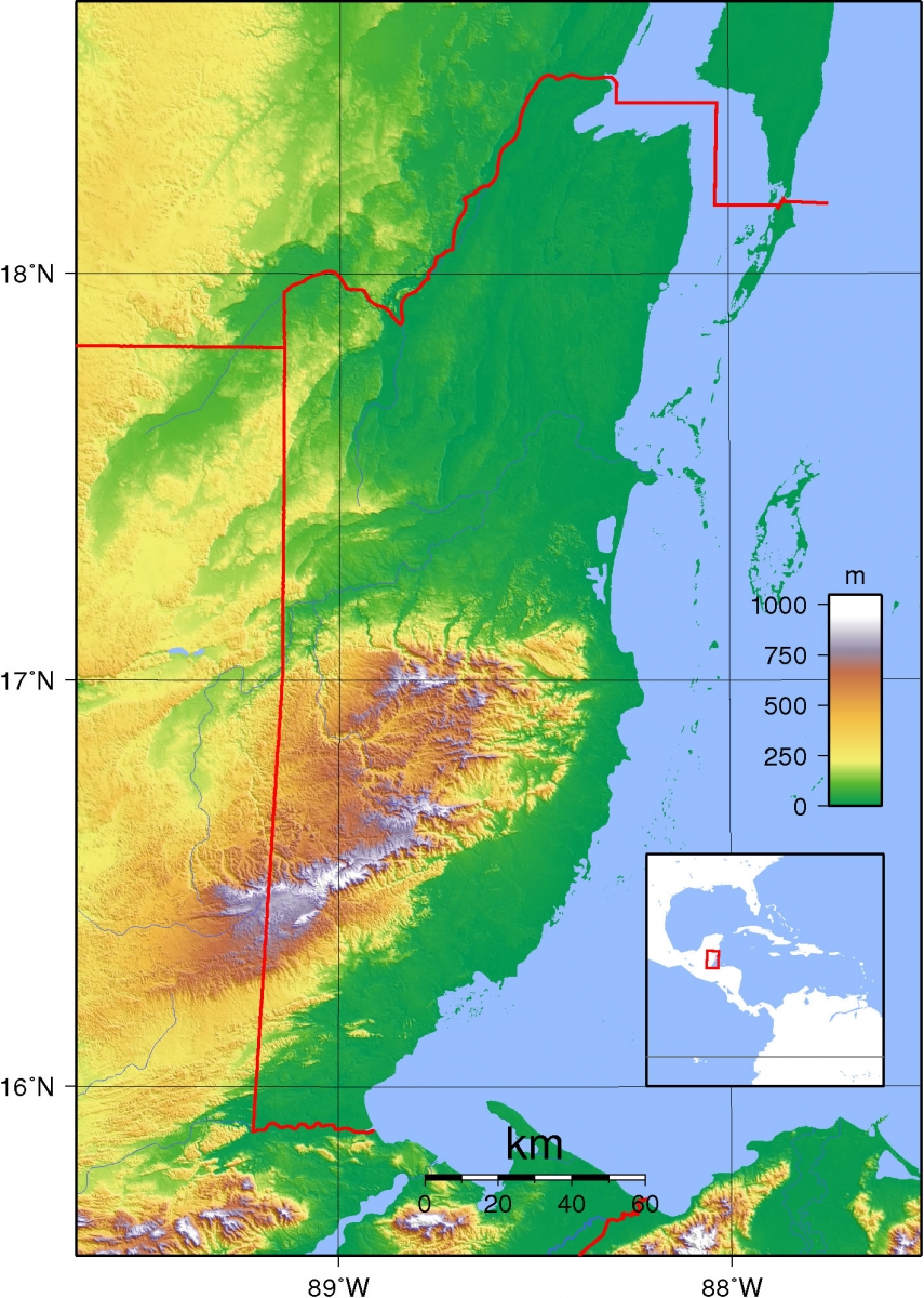 belize detailed maps topography maps  belize island maps  -  map of waterways in belize