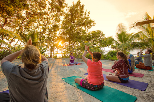 Sunrise Yoga at Glovers Reef Basecamp