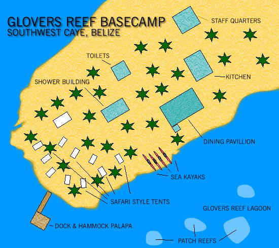 Map of Glovers Reef Basecamp
