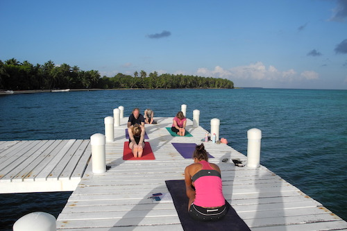 Yoga at Half Moon Caye, Belize